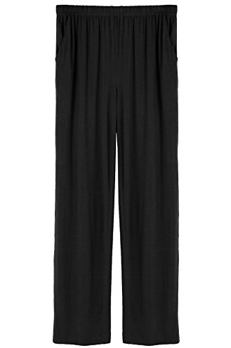 Latuza Men's Organic Bamboo Lounge Pants - Pajama Bottoms, Small, Black