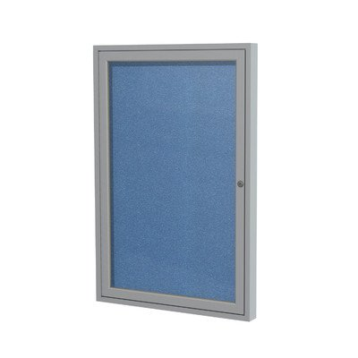 1 Door Outdoor Enclosed Bulletin Board Size: 2' H x 1'6'' W, Surface Color: Ocean, Frame Finish: Satin