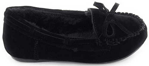 Kids Toe Winter Black Moccasin Flat Fur Comfortable Round Shoe on Warm Girls Slip FqUwxf0dd