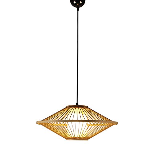 Flying Saucer Bamboo Pendant Lights Handmade Weaving Wood Knitted Light for Office Building Exhibition Hall Decoration Lighting(Bamboo,Dia 50cm)