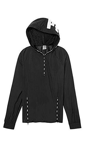 Victoria's Secret Pink Hooded Quarter Zip Anorak Windbreaker Jacket, Black White Logo, Medium/Large
