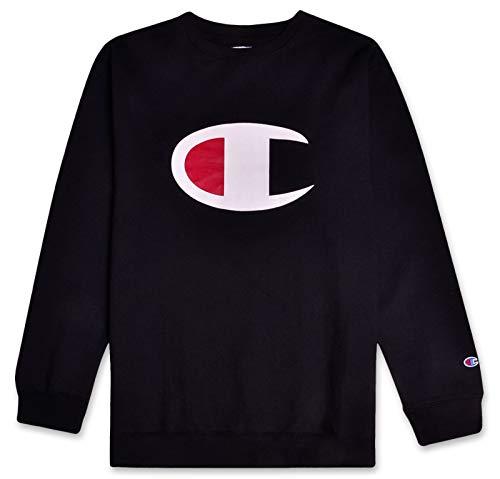 Champion Mens Big and Tall C Logo Fleece Crew Neck Pullover Sweatshirt Black 5X