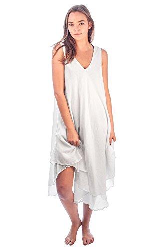 - Sundresses Coton, Taille, Quatre Couleurs - Les Porter Froissées Blanc