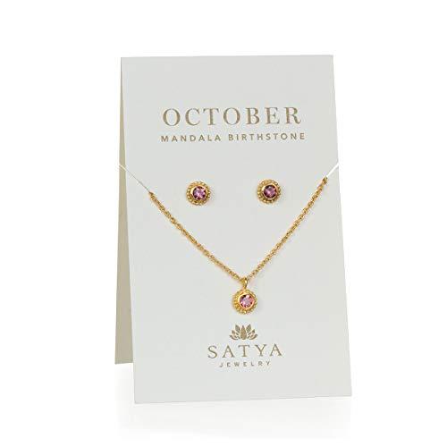 Satya Jewelry Birthstone Set Women's Pink Tourmaline Gold October Necklace & Earrings Set, One - Set Gold Jewelry Tourmaline