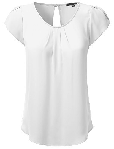 (JJ Perfection Women's Woven Petal Short Sleeve Blouse OFFWHITE 2XL)