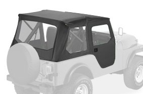 Bestop 51407-01 Black Crush Tigertop Complete Replacement Soft Top with Clear Windows; Includes doors for 1976-1983 Jeep CJ-5