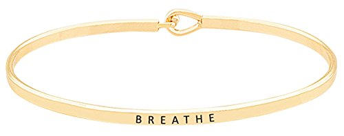 (''BREATHE'' Inspirational Quote Mantra Phrase Engraved Thin Bangle Hook Bracelet - Positive Message Jewelry Gifts for Women & Teen Girls)