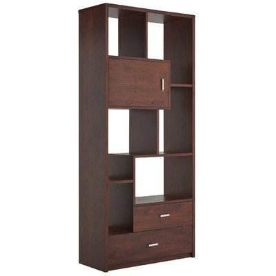 Wooden Cube Unit Bookcase with Two Drawers on Double Metal Glides and Mini-Cabinet for Discreet Storage in Vintage Walnut/Black