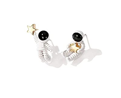 Super Cute Cartoon Astronauts Spaceman With Golden Star, Space Flags, Geometric Round Pendants, Crystal Earrings For Women Girls Jewelry Gift
