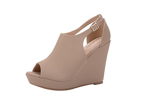 Ankle Bootie 2 Nude Straps Lady Lisa Side Womens Peep Wedges Toe Cutout Platform Mila OxPTwO