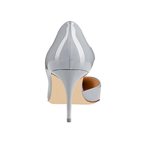 MERUMOTE Women's Heeled Shoes, Middle Low Thin Heels Shoes Slip on Daily Mary Janes Pumps Grey-Patent