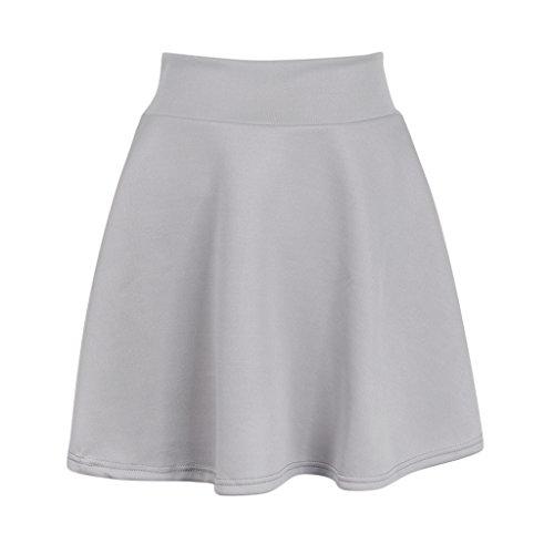 D DOLITY jupe trapze taille haute pour femme jupe plisse taille haute lastique Gris