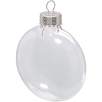 Darice 2.6 Inches Clear Disc Glass Ornaments - Pack of 6