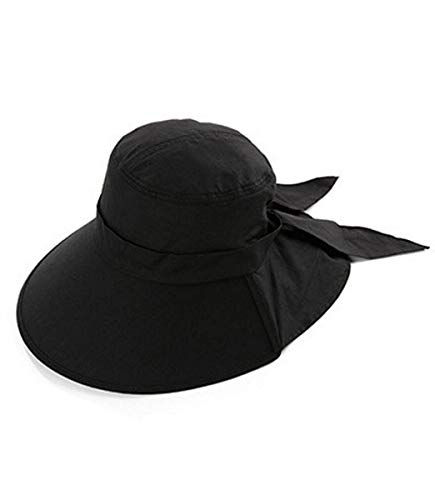 (Ls Lady Womens Summer Flap Cover Cap Cotton Anti-UV UPF 50+ Sun Shade Hat With Bow. Adjustable Hat With Wind belt (One Size,)