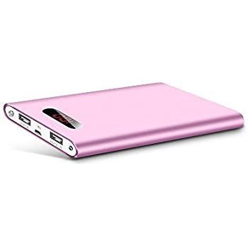 Polanfo M50000 Portable Power Bank 12000mAh External Battery Charger, Ultra Slim Design with 2 USB Ports for iPhone7 Plus 6s 6 Plus, iPad, Samsung Galaxy and More (Pink)