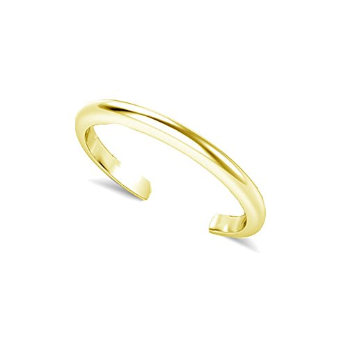 LOVVE Yellow Gold Flashed Sterling Silver Plain Basic Polished Toe Ring by Lovve