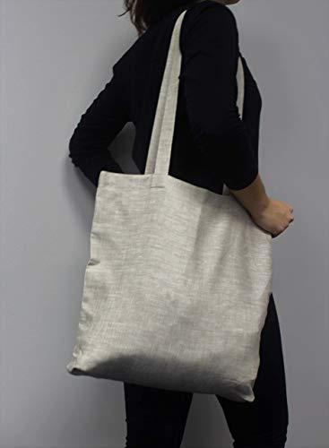 (100% Linen Shopping Tote - Reusable Grocery Shopper Bag)