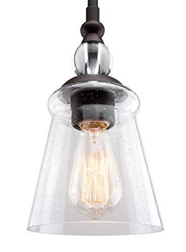 Kira Home Glory 5.5 Industrial Hanging Pendant Ceiling Light, Seeded Glass Shade, Adjustable Length, Oil-Rubbed Bronze Finish