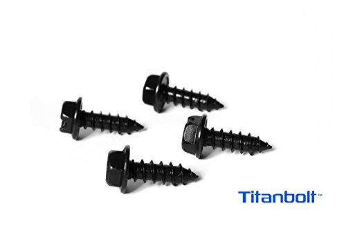 Black Plastic Screw (Black License Plate Screws by Titanbolt for Domestic Cars & Trucks (Pack of Four) Zinc Plated Fasteners for Plate Covers and Frames)