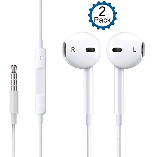 Headphones in-Ear Earbuds,[2 Pack] COREFYCO 3.5mm Wired Earphones Noise Isolating Cancelling Ear Buds Headsets Built-in Microphone & Volume Control Compatible with iPhone/iPod/iPad/Android/MP3/MP4