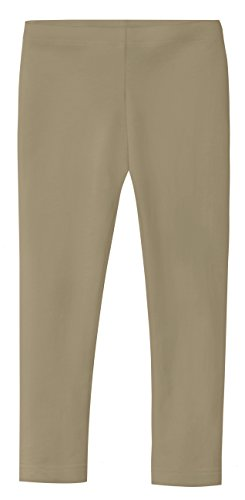 City Threads Girls' Leggings 100% Cotton School Uniform Sports Coverage Play Perfect Sensitive Skin SPD Sensory Friendly Clothing, Dark Khaki, 7 -