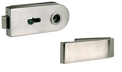 Lienbacher-Conjunto para puerta de cristal, acero inoxidable, con cerradura de cilindro perfilado
