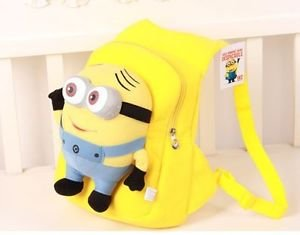 Yellow Despicable Me 2 Dave Minions 3D Eye Kids Plush Soft Backpack Bag Minio WY