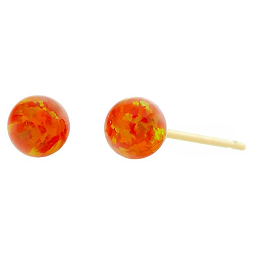 Trustmark 14-20 Gold Filled 4mm Orange Fire Synthetic Opal Ball Stud Post (Gold 17 Jewel)