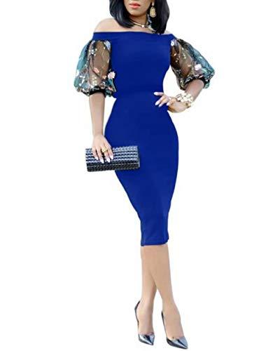 Net Short Party Dress - Women's Embroidery Net Short Sleeve Off The Shoulder Elegant Evening Cocktail Bodycon Midi Sheath Dress Royal Blue S