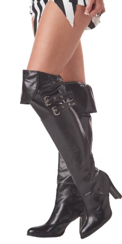 [California Costumes Deluxe Boot Covers, Black, One Size Costume Accessory] (Pirate Costumes Boot Covers)