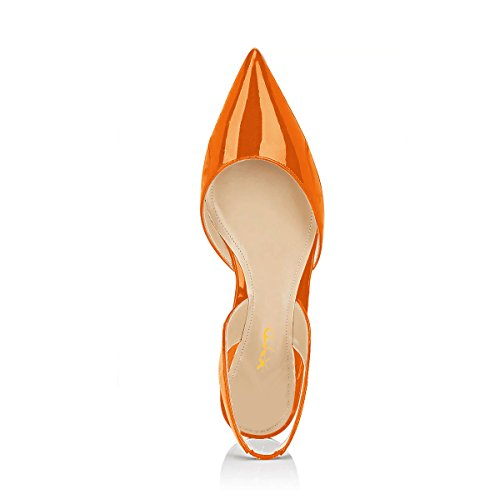 Heel D'Orsay Flat On Dress Toe Sandals Women Pointed Orange Slingback XYD Slip Slide Low Shoes x0qvwfCaa