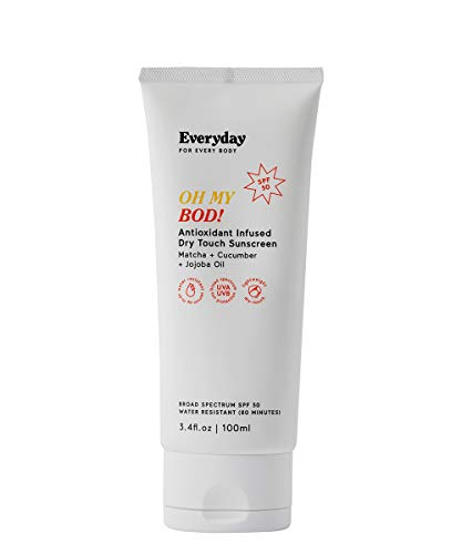 Oh My Bod SPF50 Reef Safe Body Sunscreen, Water Resistant, Unscented and Non-Greasy Protection, Antioxidant Rich, Broad Spectrum UVA UVB, Cruelty Free, 3.4 fl .oz Everyday For Every Body