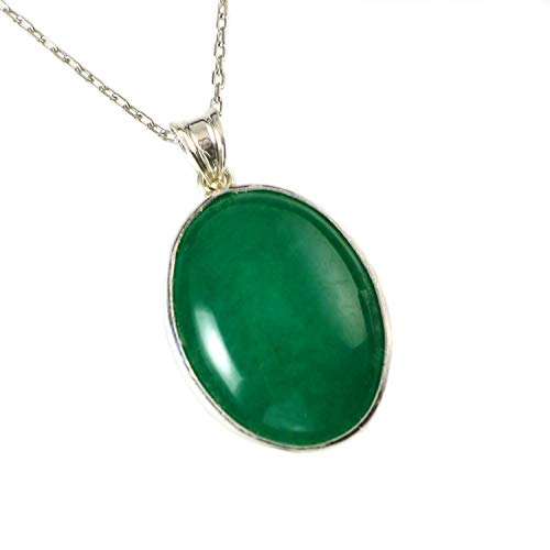 Sterling Silver Natural Oval Green Aventurine Gemstone Handcrafted Pendant Necklace 16+2 inches Chain