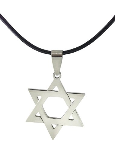 Star of David Pendant Necklace Choker Chains Charm Black Leather Cord - 6