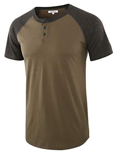 Vetemin Men's Casual Short Sleeve Raglan Henley T-Shirts Baseball Shirts Tee Army/H.Charcoal ()