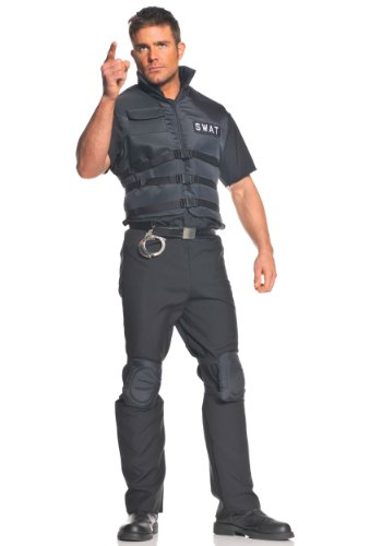Swat Team Costume For Adults (Underwraps Men's Swat, Black, One Size)