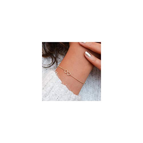 Mevecco Gold Dainty Infinity Bracelet,14K Gold Plated Cute Tiny Delicate Elegant Forever Eternity Love Bracelet for Women