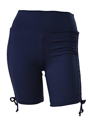 Private Island Hawaii Women UV Rash Guard Swimming Suit Sun Protection Shorts Hot Pants Bikini Bottom Adjustable Tie Side Boyshorts Navy Small