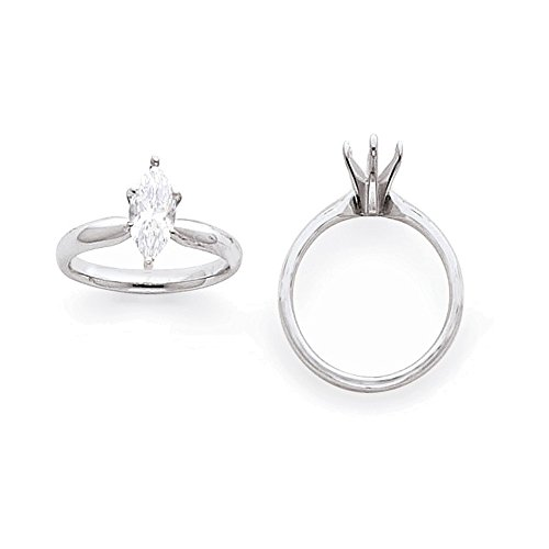 14k White Gold 1.5ct. Tulip Head Comfort-Fit Marquise Solitaire ()