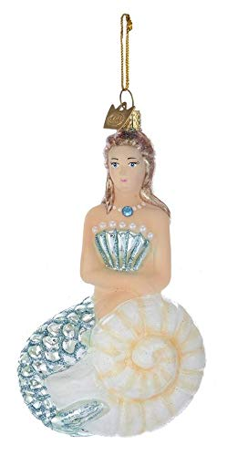 Kurt Adler Glass Ornament with S-Hook and Gift Box, More Animals Collection (Mermaid [Brunette])