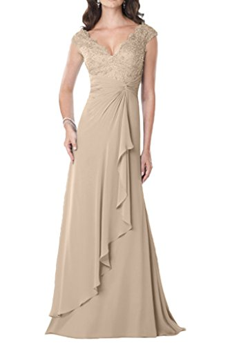 Avril Dress Elegant Mother of Bride Dress V Neck Applique Lace Chiffon Gown-16-Deep Champagne