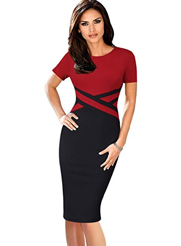(VFSHOW Womens Red and Black Elegant Colorblock Work Business Office Church Sheath Dress 2760 RED L)