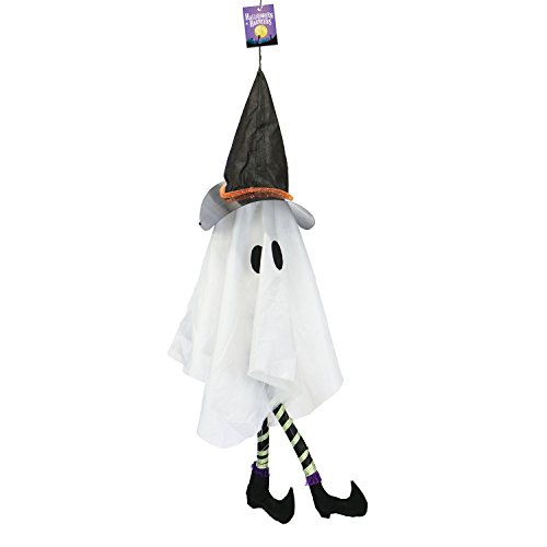 (Halloween Haunters Animated 3 Foot Hanging White Ghost with Kicking Legs and LED Lights Prop Decoration - Fun Cute Spooky Laughing, White Sheet Big Eyes Display with Hat)