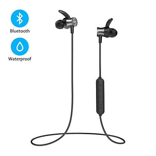 Letscom Bluetooth Headphones, Lightweight Wireless Earbuds with Magnetic Connection, IPX5 Water Resistant Bluetooth 5.0 Sports Earphones for Running, Built-in Mic, 8 Hrs Work ()