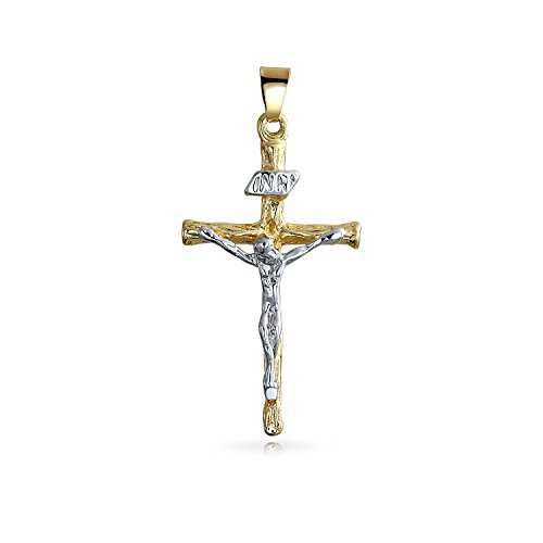 18k Two Tone Cross - Bling Jewelry Christian Religious Jesus Inri Crucifix Cross Pendant Necklace for Men for Women Two Tone 18K Gold Silver Plated Brass