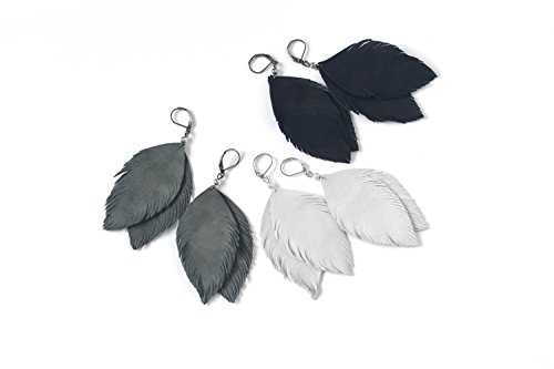 Suede leather feather earrings in black, light grey or pigeon grey. Beautiful set in monochrome!