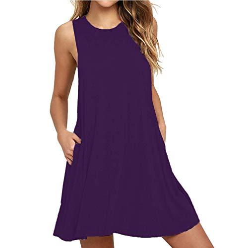CLANDY T-Shirt Dresses for Women, Womens Summer Beach Cotton Casual Sleeveless Flared Tank Dress Plain Flowy Loose Short Sundress with Pockets Purple Size XL