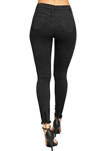 Maigre Femmes Jean lev Taille Jambe tendue Dames Jeans WEARALL Effiloch Noir Afflig Cheville 34 42 Toile De 7SwB0q
