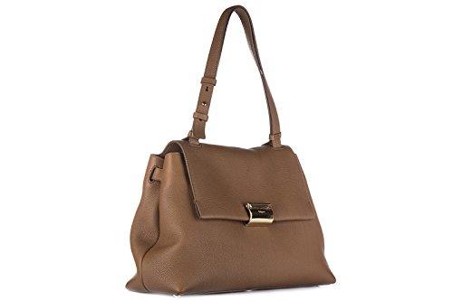 femme cuir à en main sac Salvatore ginger marron Ferragamo EW7vqIvY