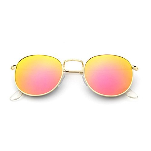 G&T 2016 New Womens Fashion Personality Metal Frame Round Reflective Beach Sunglasses(C5) (What To Wear To 80s Party)